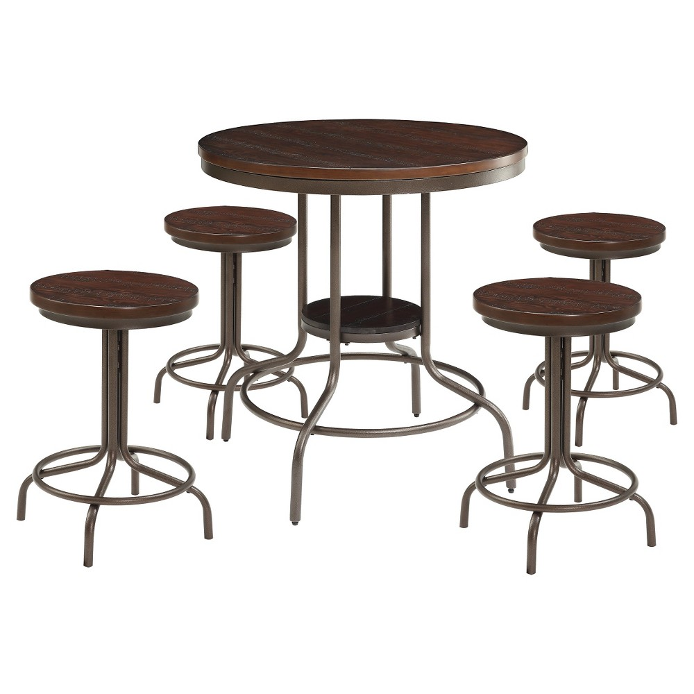 5pc Burney Counter Height Dining Set Cherry/Oak - Acme Furniture 5pc Burney Counter Height Dining Set Cherry/Oak - Acme Furniture Color: Brown. Gender: unisex.