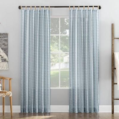 Ostin Cascading Striped Jute Tabs Semi-Sheer Tab Top Curtain Panel - No. 918