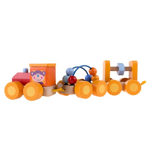 Classic Wooden Toy, Interactive Learning Train Set with Bead Maze and Screw Block Train Cars for Boys and Girls, Toddlers by Hey! Play! - image 1 of 5