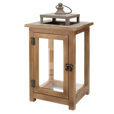 """14.5"""" Large Rustic Wooden Candle Lantern Brown - Stonebriar Collection"""