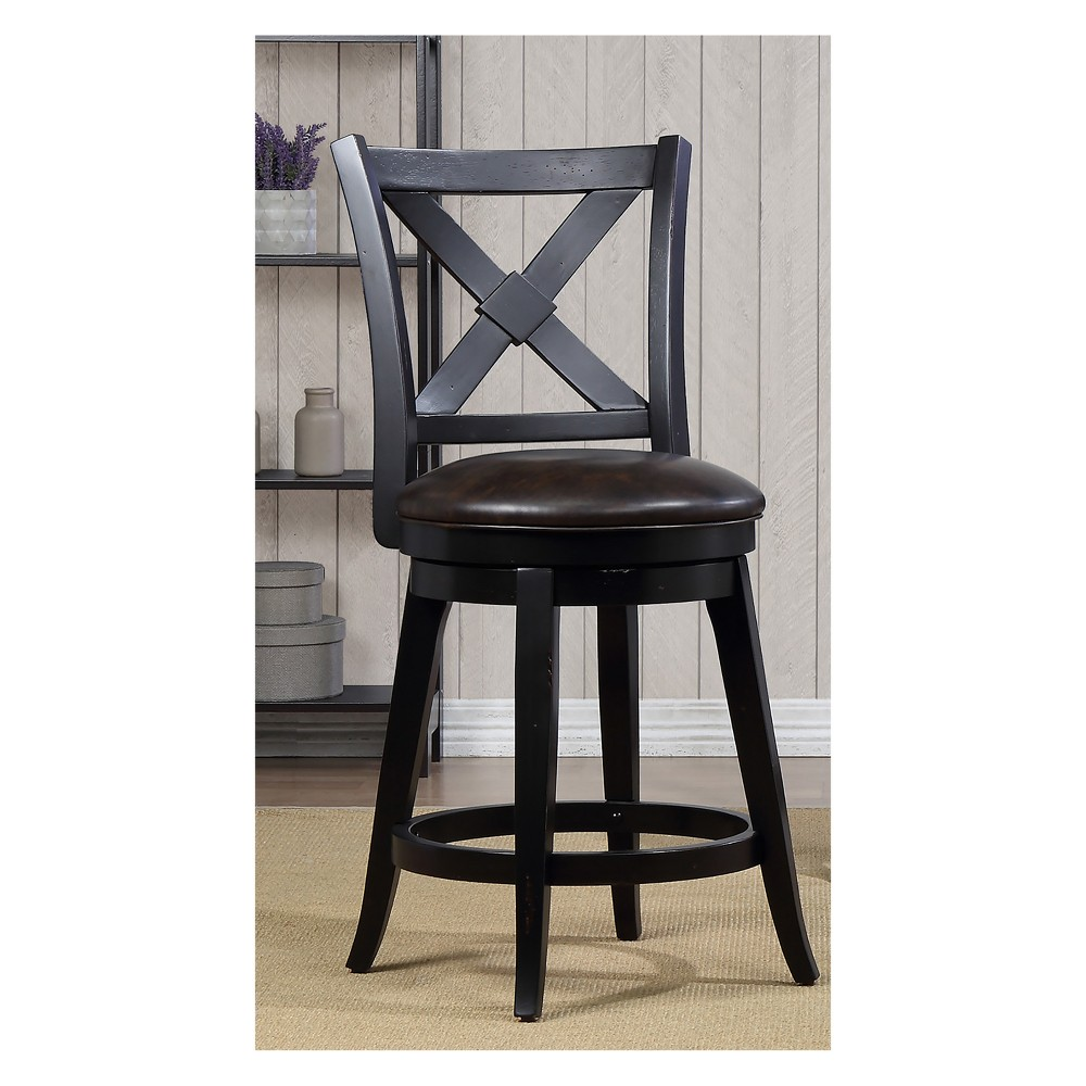 "Image of ""40"""" Bailey Counter Height Swivel Stool Black - Foremost"""