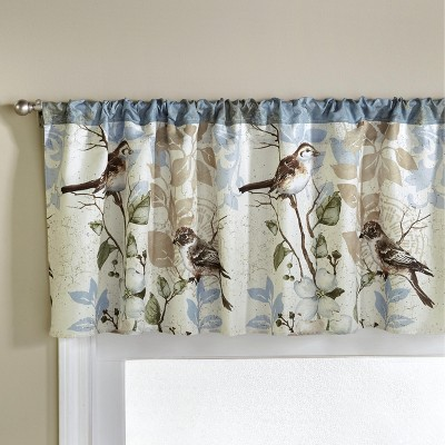 Lakeside Floral Bluebird Kitchen and Bathroom Valance - Indoor Window Treatment