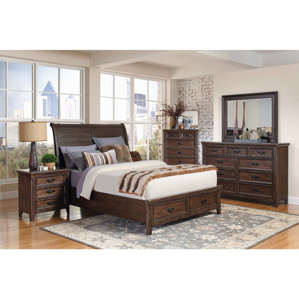 Queen Naples Storage Bed Antique Mink - Private Reserve, Brown