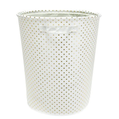 Round Polka Dot Bin (Large)White & Gold - Pillowfort™
