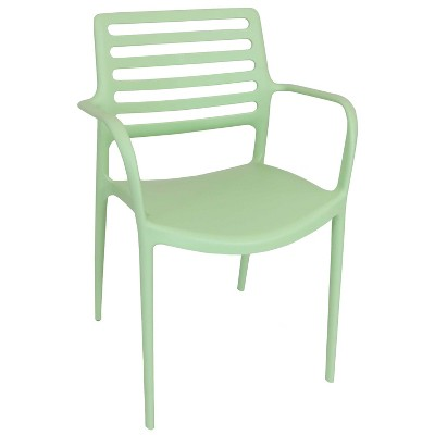 Sunnydaze Plastic All-Weather Commercial-Grade Astana Indoor/Outdoor Patio Dining Arm Chair, Light Green
