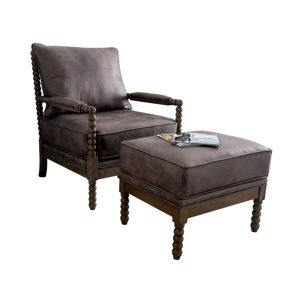 Image of 2pc Eves Accent Chair with Ottoman Brown - ioHOMES