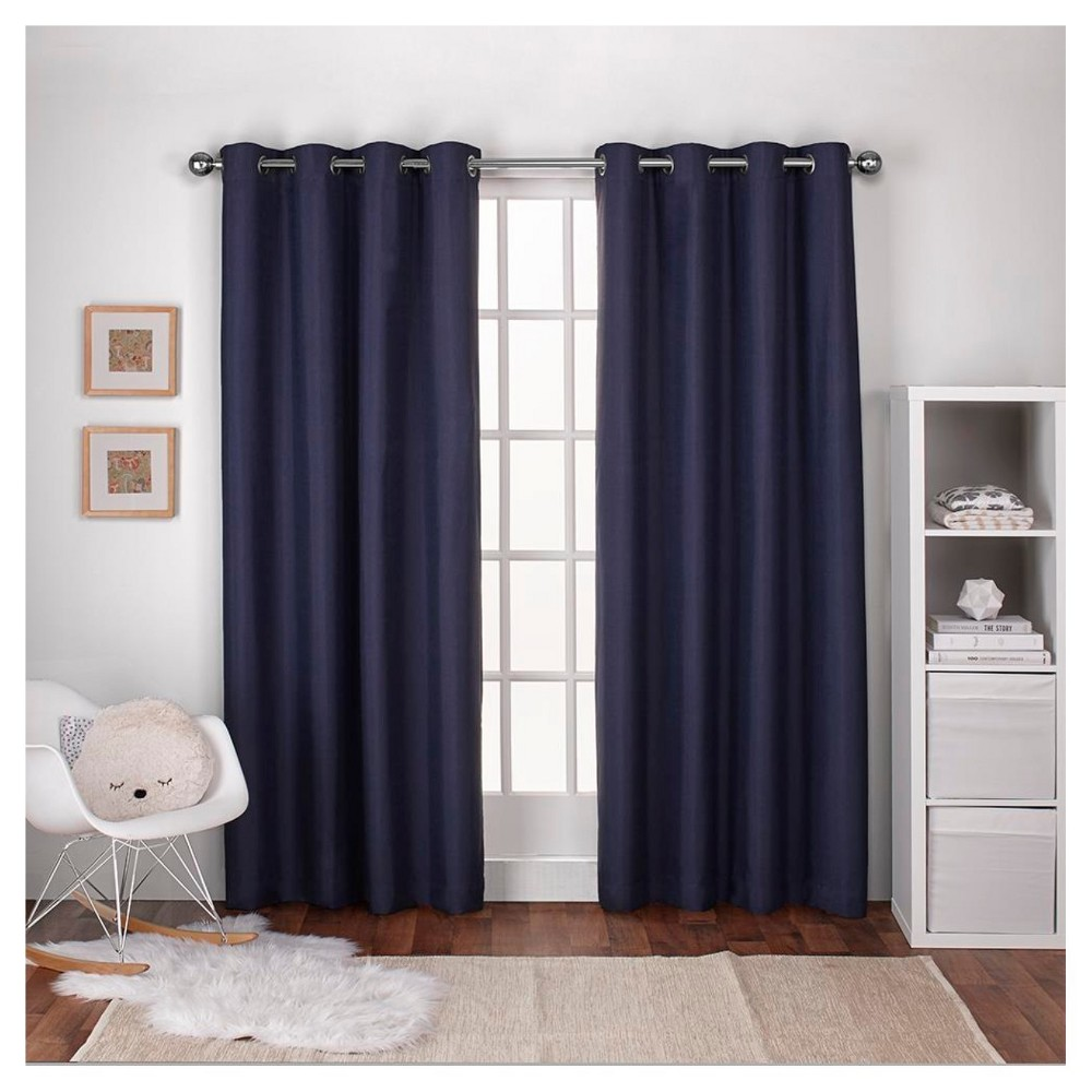 Linen Thermal Curtain Panel Set Navy (Blue) (54