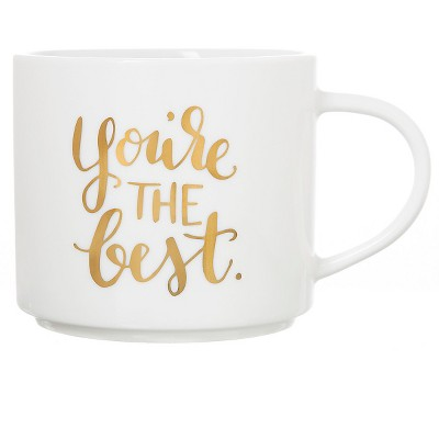 15oz Stoneware You're The Best Stackable Mug White/Gold - Threshold™