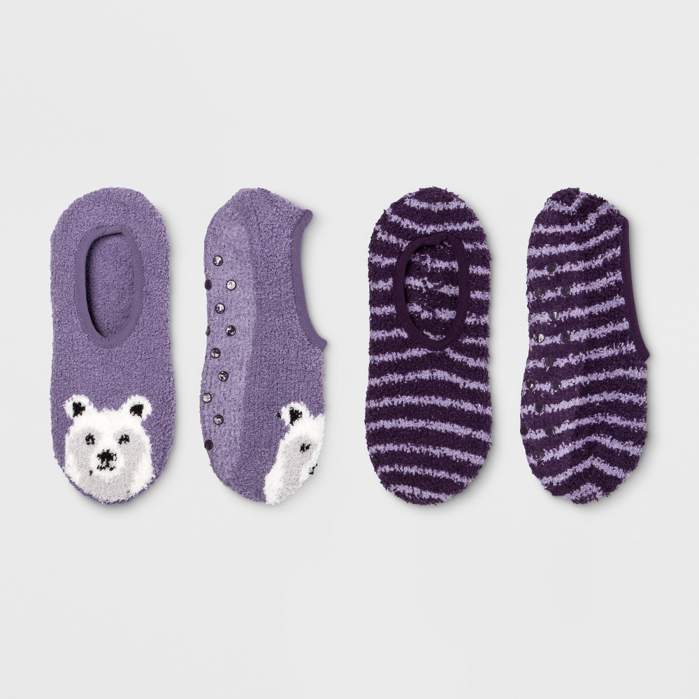 Women's Polar Bear Cozy Liner 2pk Socks - Purple One Size