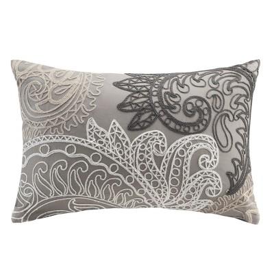 Kiran With Chain Stitch Lumbar Pillow Taupe