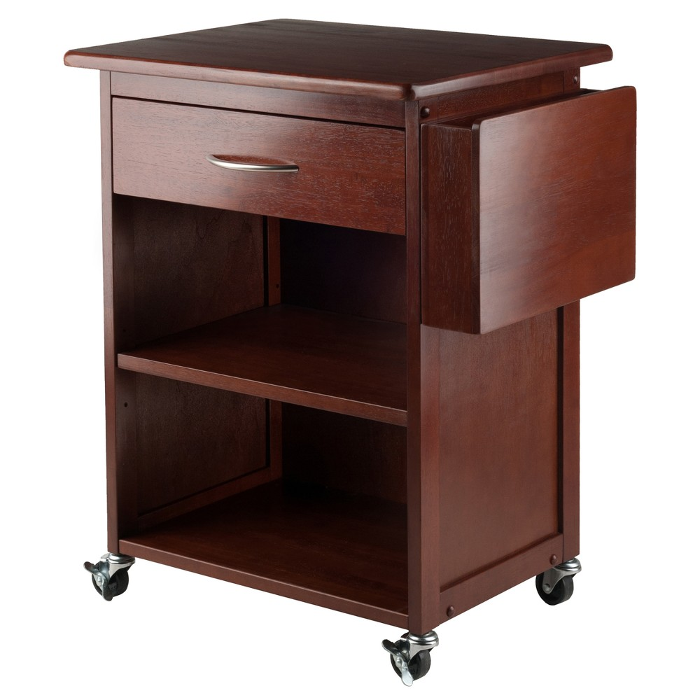 Maxwell Media Cart With Gadget Caddy - Walnut (Brown) - Winsome
