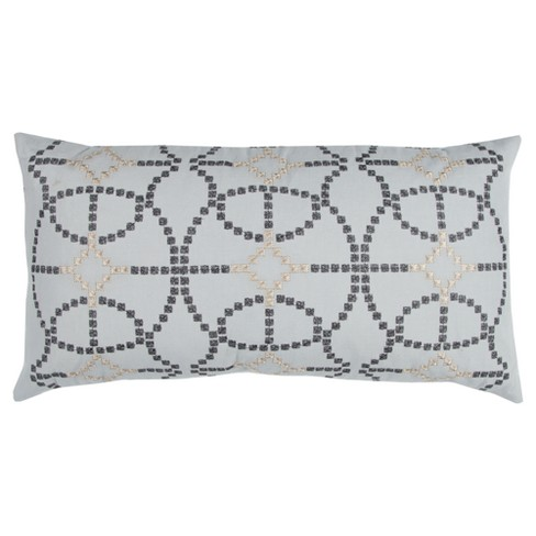 "Silver Cotton Throw Pillow (14""x26"") - Rizzy Home - image 1 of 2"