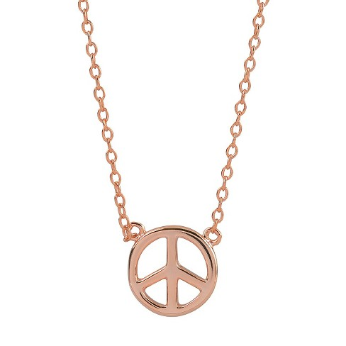 "Women's Journee Collection Peace Sign Emblem Pendant Necklace in Sterling Silver - Rose Gold (16"") - image 1 of 2"