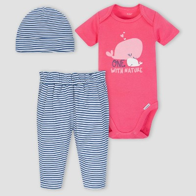 Gerber Baby Girls' 3pc Whale Onesies Bodysuit Pants and Hat Set - Pink/Blue 0-3M