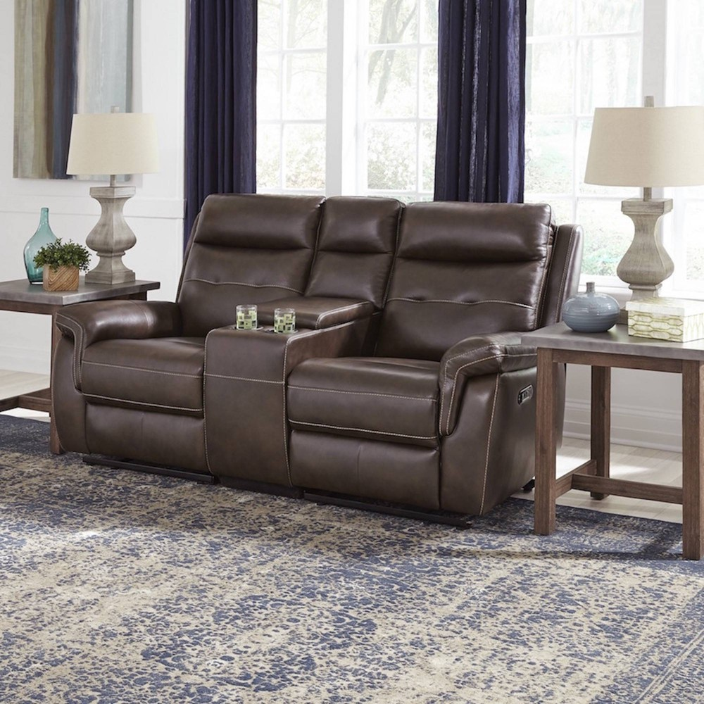 Phenomenal Lux Leather Power Motion Reclining Console Love Seat Brown Ibusinesslaw Wood Chair Design Ideas Ibusinesslaworg