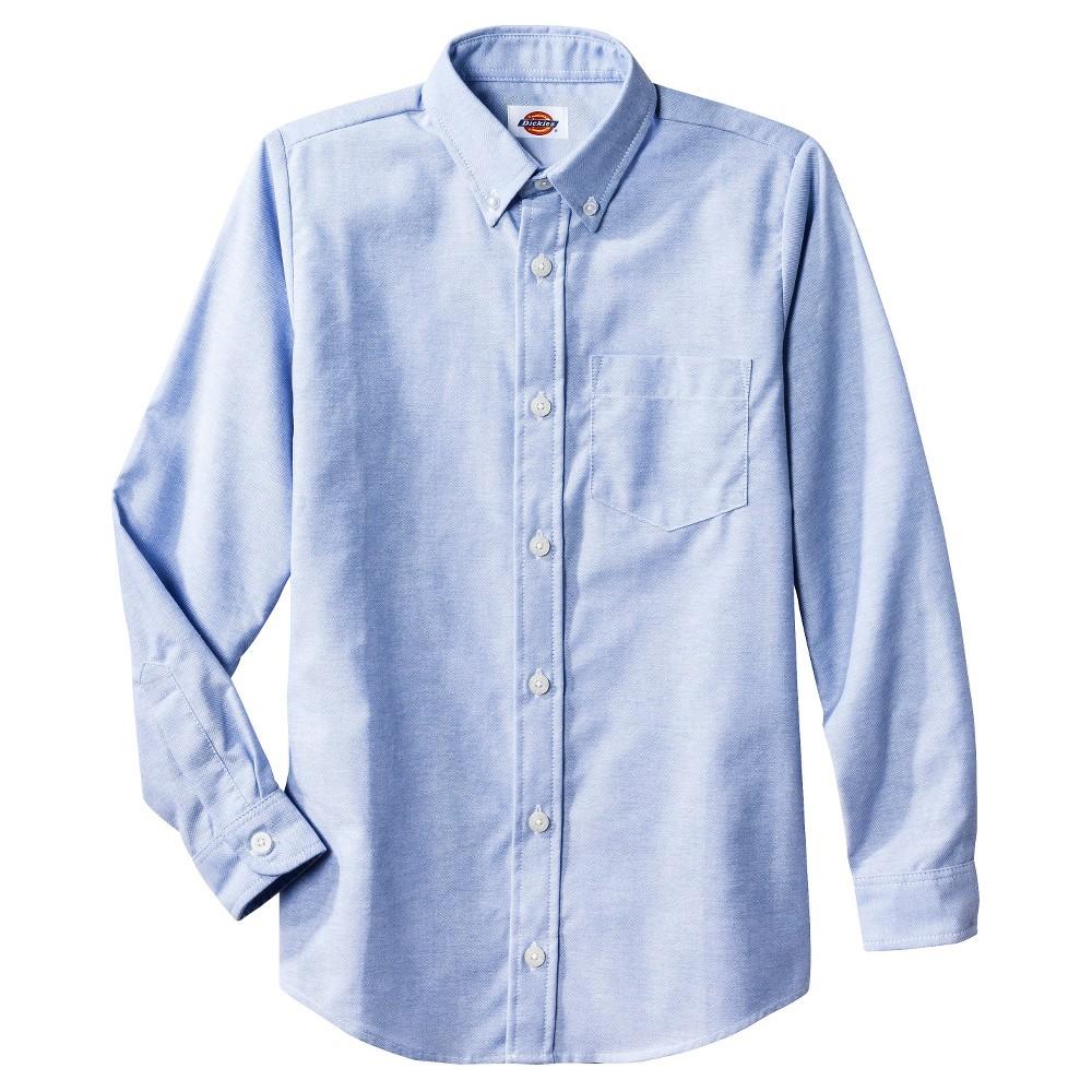 Dickies Boys' Long Sleeve Oxford Uniform Button-Down Shirt - Blue XL