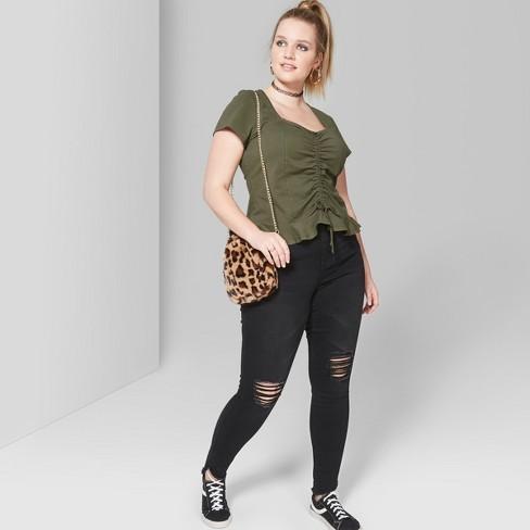 006986a30ce Women s Plus Size Short Sleeve Cinch Front Peplum Blouse - Wild Fable™