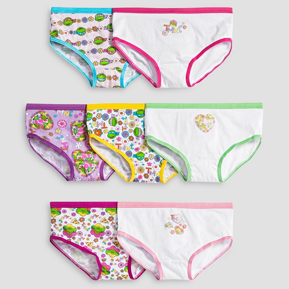 Girls' Teenage Mutant Ninja Turtles 7pk Bikini Briefs - White/Purple/Pink 6, Multi-Colored