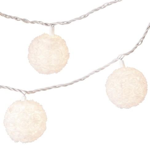 11 Rosette Globe String Lights White