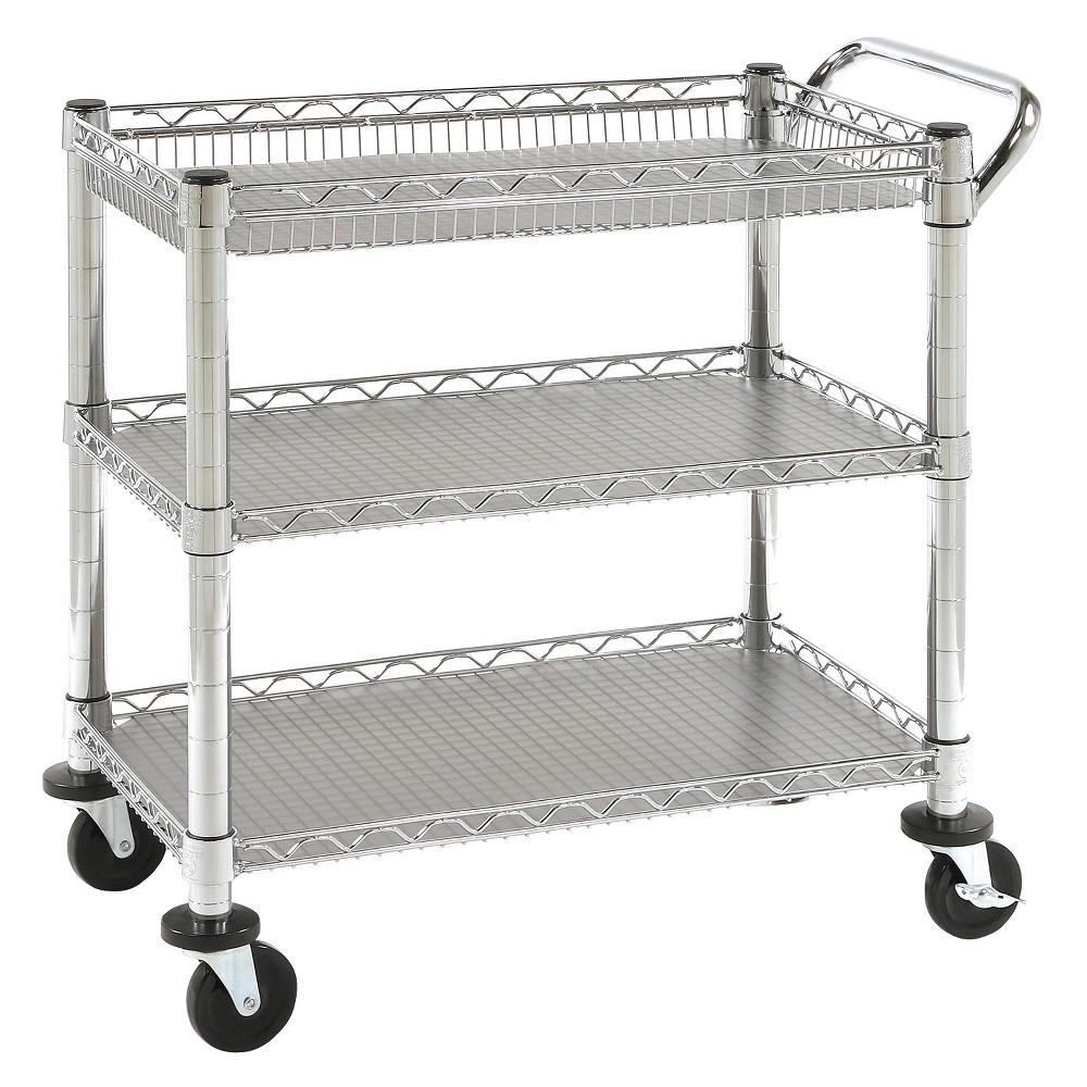 Seville Classics 3-Shelf UltraZinc Heavy-Duty Commercial Utility Cart, Shiney Silver