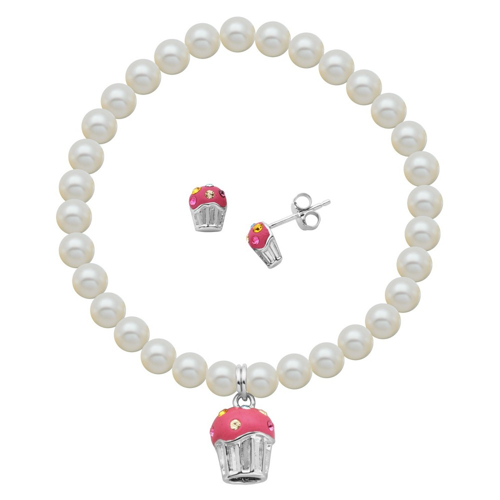 Image of Children's Sterling Silver White Shell Pearl and CZ Owl Stud and Bracelet Combo Set, Women's, Size: Small