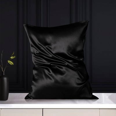 Queen/20x30inch Silk 19 Momme with Zipper Pillow Cases Black - PiccoCasa