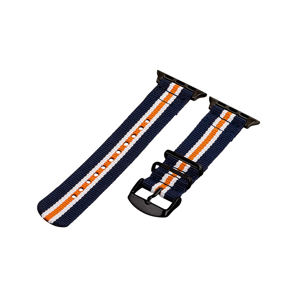 Clockwork Synergy Classic Nato 2 Apple Watch Band 42mm with Black Adapter - Navy Blue/Orange/White, Adult Unisex, Multicolored Customize the look of your timepiece with the Classic Nato 2-Piece Apple Watch Band from Clockwork Synergy. Crafted from high-quality nylon, this white, orange and navy watchband ensures long-lasting durability without sacrificing comfortable wear. With 11 adjustability holes, you'll get the perfect custom fit so your watch stays in place all day. Whether you show off the classic white and navy design with just a pop of color from the orange stripe, or you switch it out depending on your outfit, you'll love sporting a unique look that complements your style. Color: Multicolored. Gender: Unisex. Age Group: Adult.