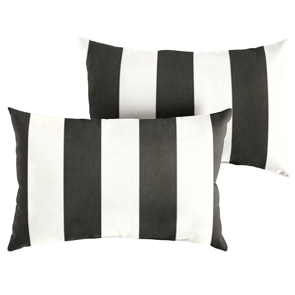 Image of Sunbrella 2pk Cabana Classic Lumbar Outdoor Throw Pillows Black/White