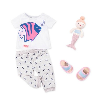 "Our Generation Pajama Outfit with Plush Mermaid for 18"" Dolls - Nautical Pajama"