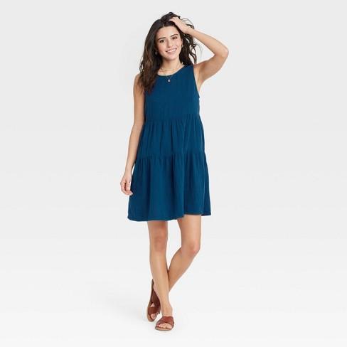 Women's Gauze Tiered Tank Dress - Universal Thread™ - image 1 of 3