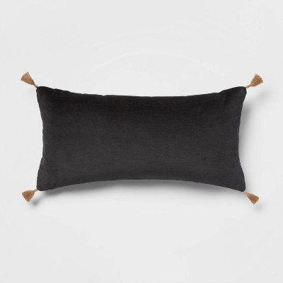 "12""x24"" Oversized Velvet Lumbar Throw Pillow Gray - Threshold™"