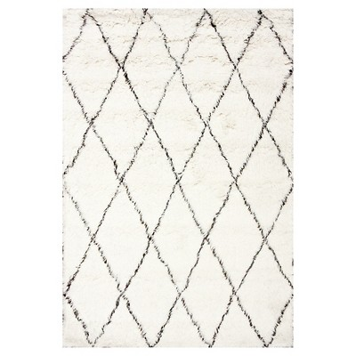 nuLOOM 100% Wool Hand Made Marrakech Shag Area Rug - Off-White (5' x 7')