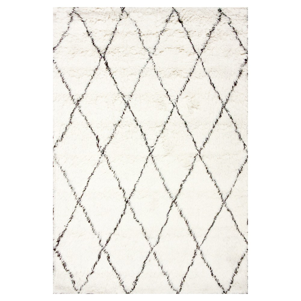 nuLOOM 100% Wool Hand Made Marrakech Shag Area Rug - Off-White (5' x 7'), Ivory