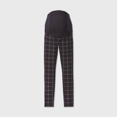 Maternity Plaid Cross Panel Ponte Pants - Isabel Maternity by Ingrid & Isabel™ Black