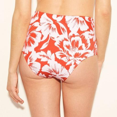 7f6e2f68bf Women's Sun Coast Cheeky Shiny Texture High Waist Bikini Bottoms - Shade &  Shore™ Coral