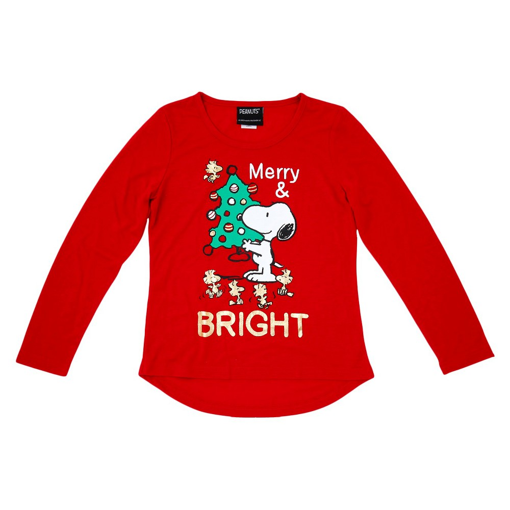 Girls' Peanuts Holiday Long Sleeve T-Shirt - Red Xxl