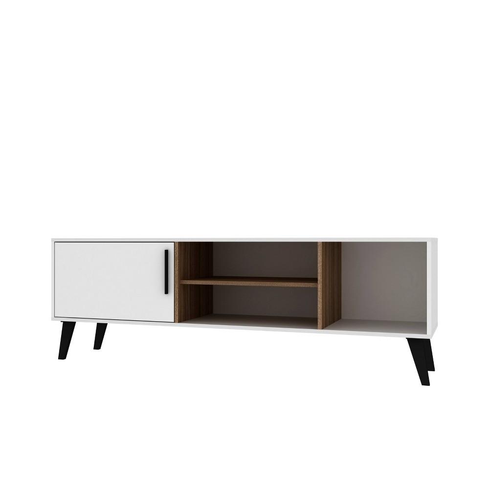 60 Amsterdam TV Stand White/Oak Brown - Manhattan Comfort