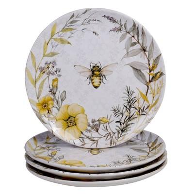 """10.8"""" 4pk Earthenware Sweet As A Bee Dinner Plates - Certified International"""