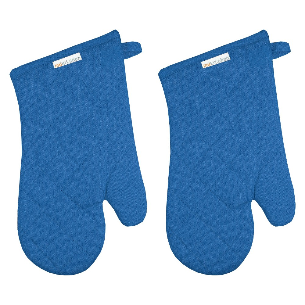 "Image of ""13"""" 2pk Oven Mitt Blue - Mu Kitchen"""