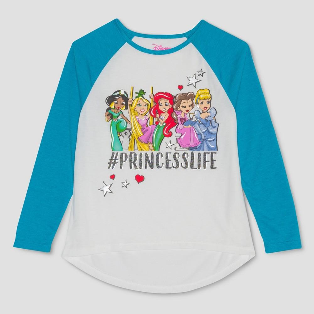 Girls' Disney Princess Long Sleeve Raglan T-Shirt - Ivory/Blue L, White