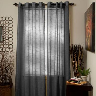 Yorkshire Home Mia Jacquard Grommet Curtain Panel - Dark Gray (54 x84 )