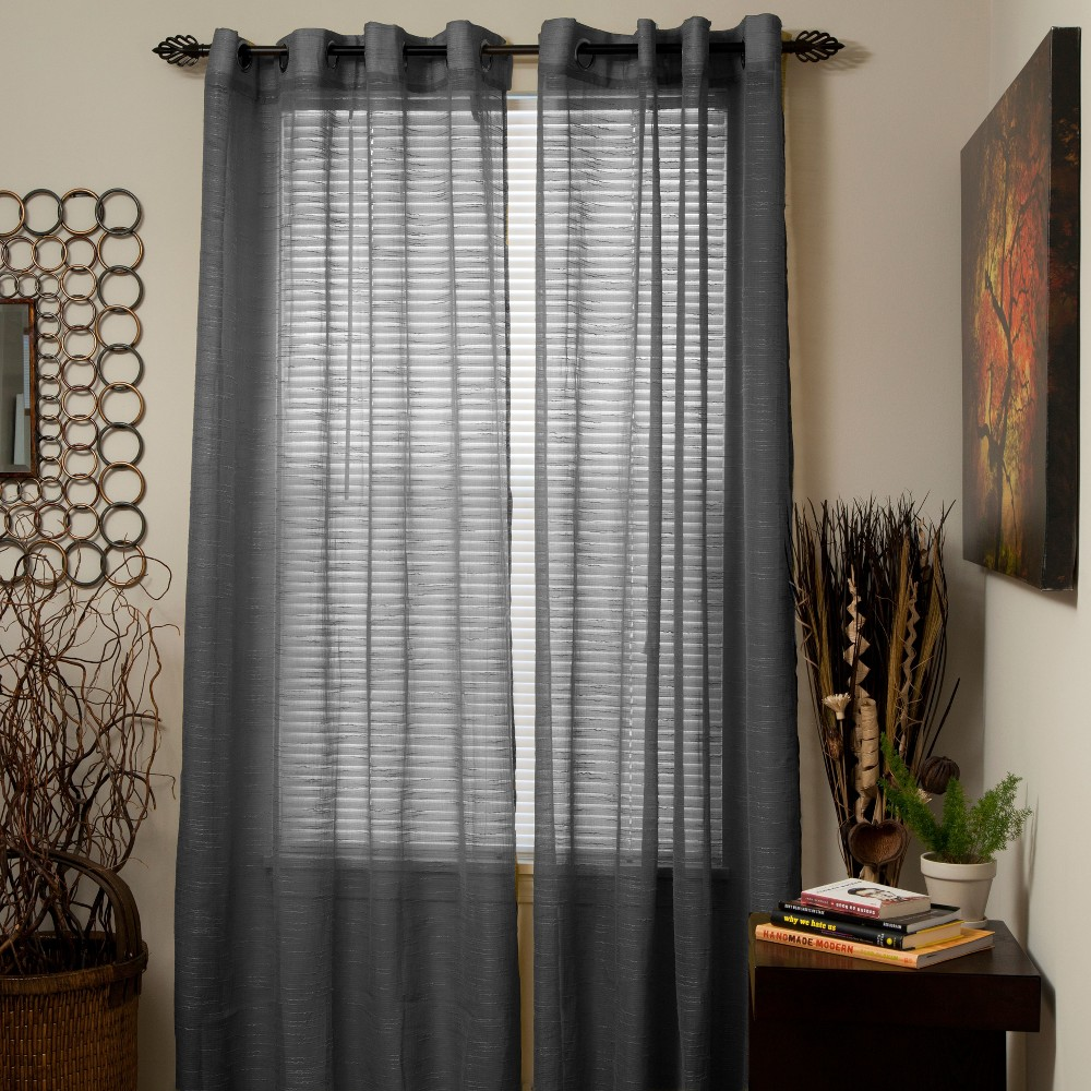 Yorkshire Home Mia Jacquard Grommet Curtain Panel - Dark Gray (54