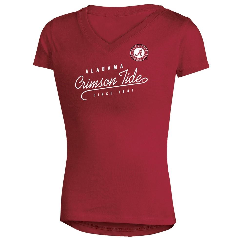 Alabama Crimson Tide Girls Short Sleeve Puff Print V-Neck Tunic T-Shirt XL, Multicolored