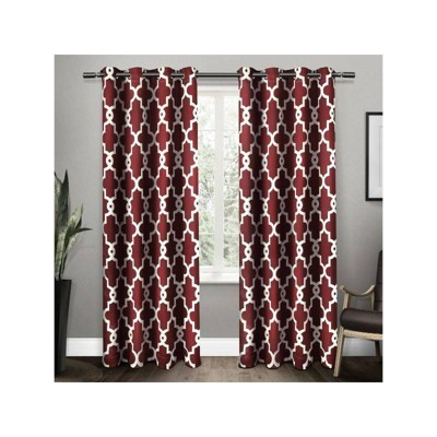 Ironwork Back Tab Blackout Window Curtain Panels - Exclusive Home