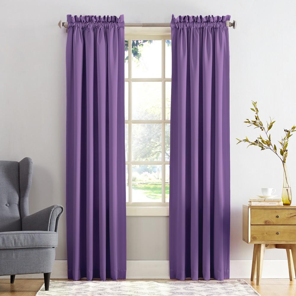 Seymour Room Darkening Rod Pocket Curtain Panel Purple 54