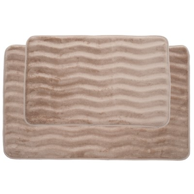 2pc Wave Bath Mat Taupe - Yorkshire Home