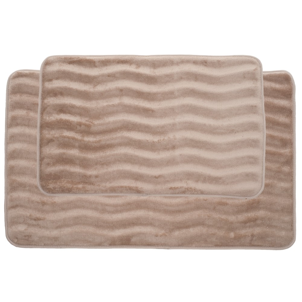 Wave Memory Foam Bath Mat Set 2pc Taupe (Brown) - Yorkshire Home - Yorkshire Home