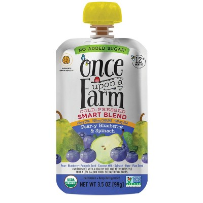 Once Upon a Farm Organic Pear-y Blueberry & Spinach Smart Blend 12+ Months - 3.5oz