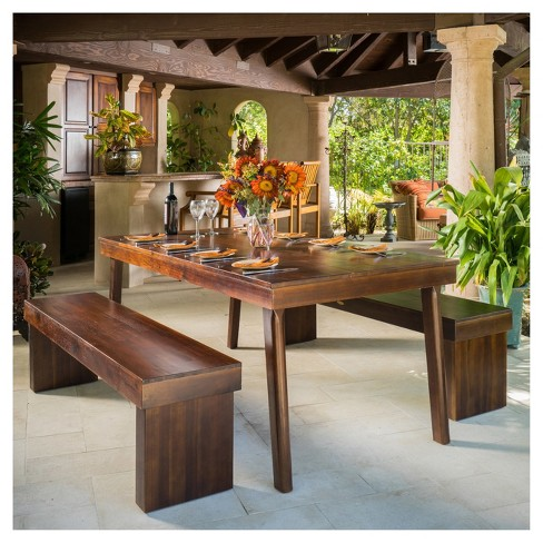 Greenway rectangular dining table and bench rich mahogany greenway rectangular dining table and bench rich mahogany christopher knight home target watchthetrailerfo