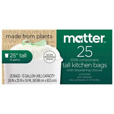 Matter 100% Compostable Tall Kitchen Trash Bags - 13 Gallon/25ct